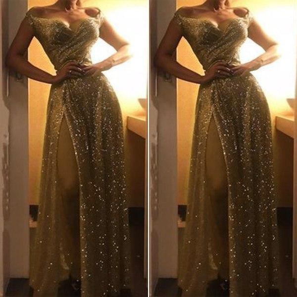 Kvinnors sexiga rygglösa slitsbandiga glänsande klänningar