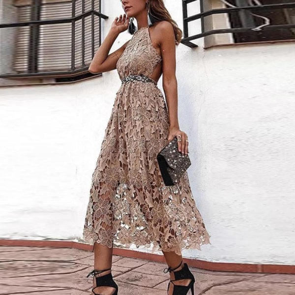 Europeisk och amerikansk kvinnors sexiga klänning lång kjol
