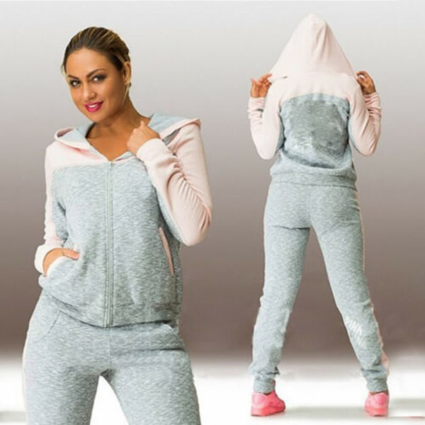 Womens Sport Jogger Tracksuit Hoodie Tops Workout Casual Zipper Green & Gray L
