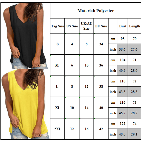Womens Summer Sleeveless Vest V Neck Casual Loose Cami Blouse Yellow L