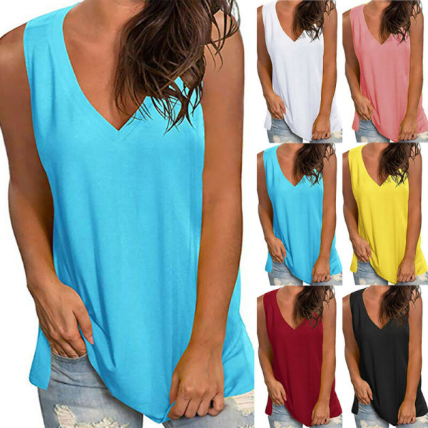 Womens Summer Sleeveless Vest V Neck Casual Loose Cami Blouse Blue XL