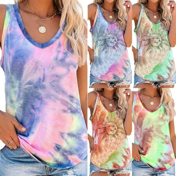 Womens Tie Dye Sleeveless Summer Vest Tank  Beach Holiday Loose Multicoloured A S