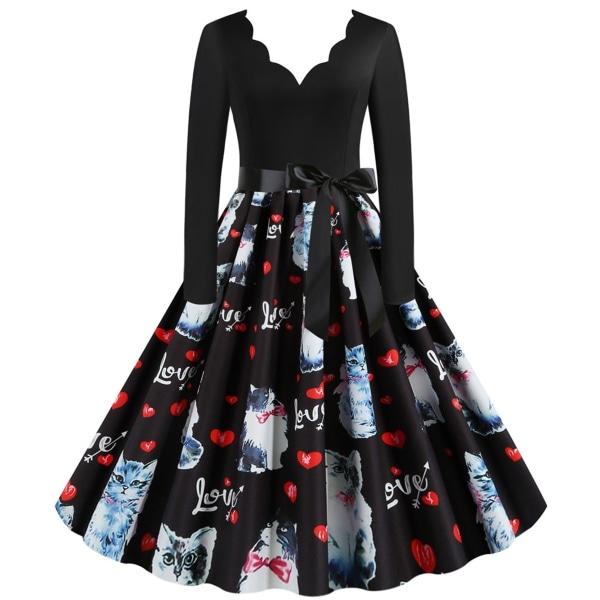 Kvinnors alla hjärtans dag söta katt tryckta klänningar långa