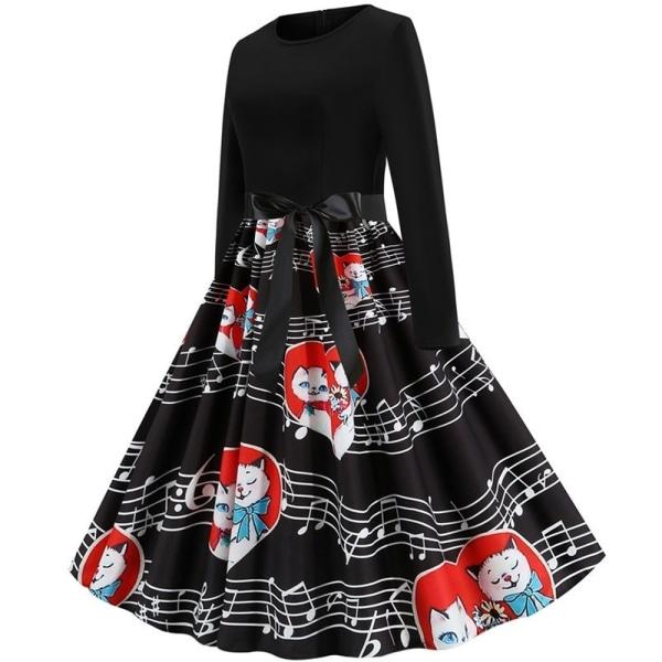 Kvinnors alla hjärtans dag söta tryckta klänningar rund hals