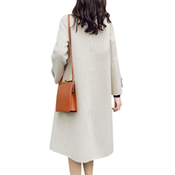 Kvinnors Vinter Varm Overcoat Trench Coat Jacket Casual Knappar black S