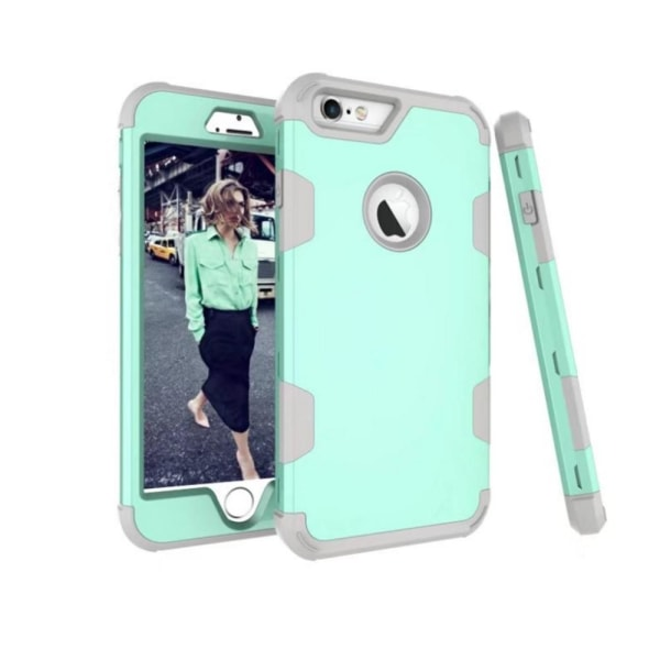 Elegant och Skyddande Hybridskal av LEMAN till iPhone 6/6S Plus Aquablå/Grå