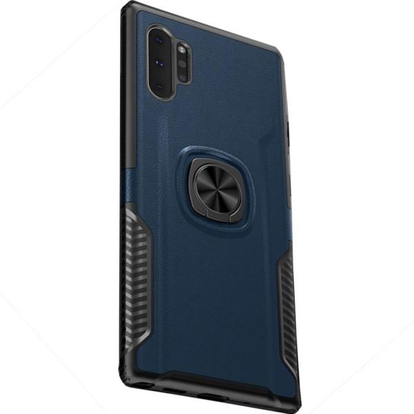 Samsung Galaxy Note10 Plus - Praktiskt LEMAN Skal Ringhållare Mörkblå