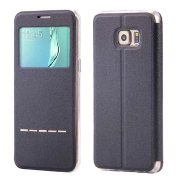 Samsung S6 Edge Smartfodral med Fönster och Svarsfunktion Röd