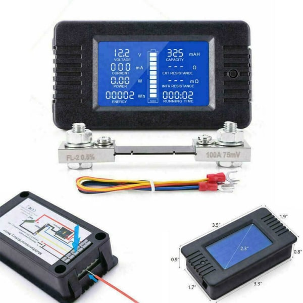 Widely Applied to 12V//24V//48V RV//Car Battery LCD Display Digital Current Voltage Solar Power Meter Multimeter Ammeter Voltmeter universal te SDY-SDY Multifunction Battery Monitor Meter,0-200V,0-300A