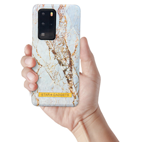 Huawei P40 Pro - Skal / Skydd / Blommor / Marmor Vit