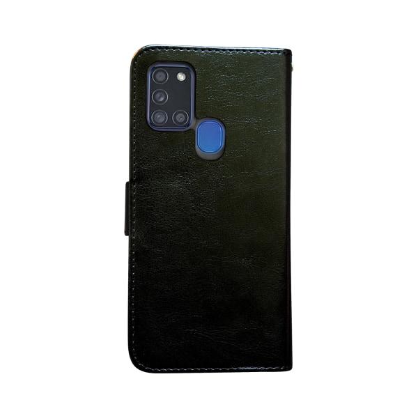 Samsung Galaxy A21s - Läderfodral / Skydd Svart