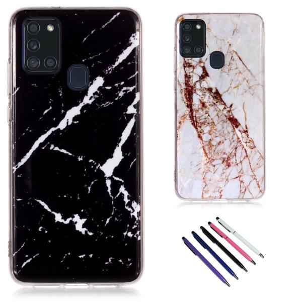 Samsung Galaxy A21s - Skal / Skydd / Marmor Svart