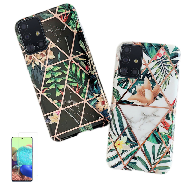 Samsung Galaxy A51 - Skal / Skydd / Geometriskt Vit