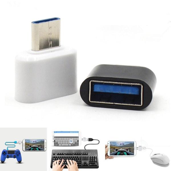 USB till C USB - Inbyggd OTG Adapter Vit