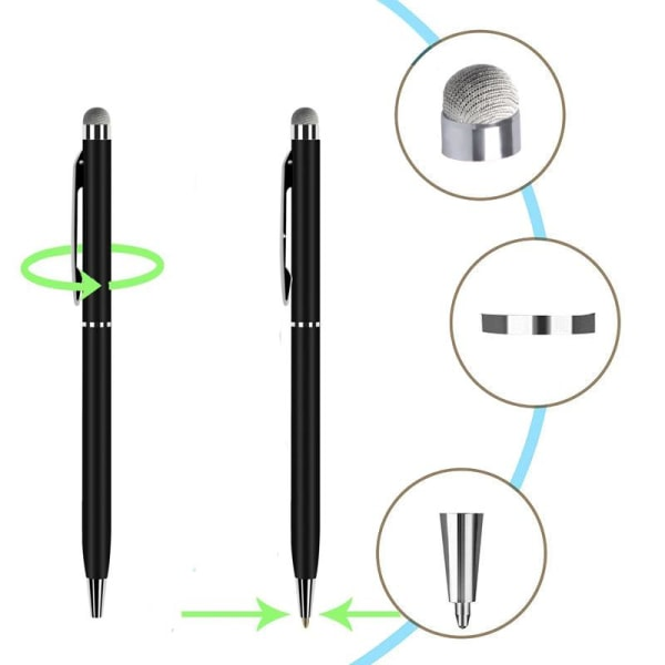 Högkänslig stylus 2 i 1 touchpenna / pekpenna mobil & surfplatta Svart