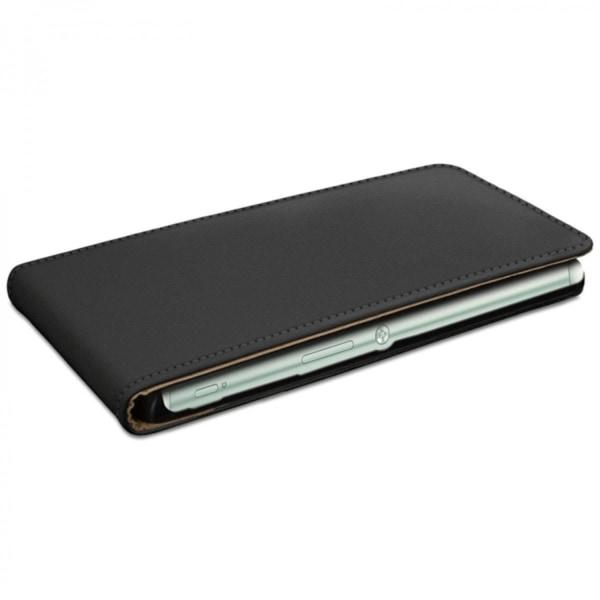 Sony Xperia Z5 Lyxigt Flip Fodral / Skydd / Case Svart Läder