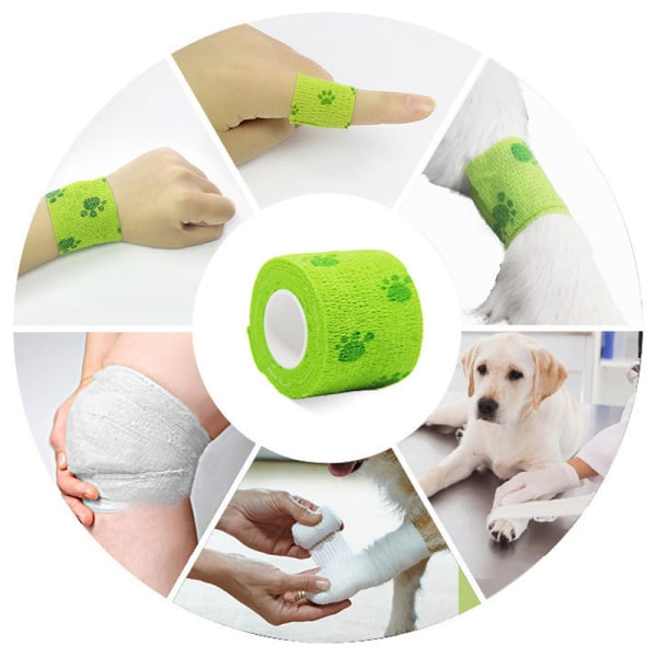 12 Pcs Sports Pet Vet Wrap Self-Adherent Bandages Nude 7.5cm*4.5m