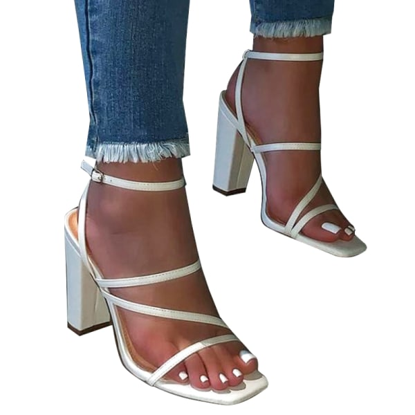 2020 Kvinnor High Heels Lace Bandage Sandals White 39