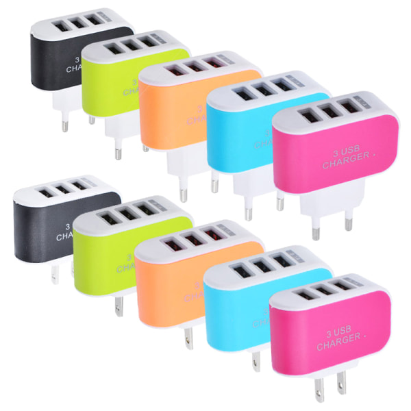 3 USB Multi Adapter Travel Wall Charger Orange 5V/1A