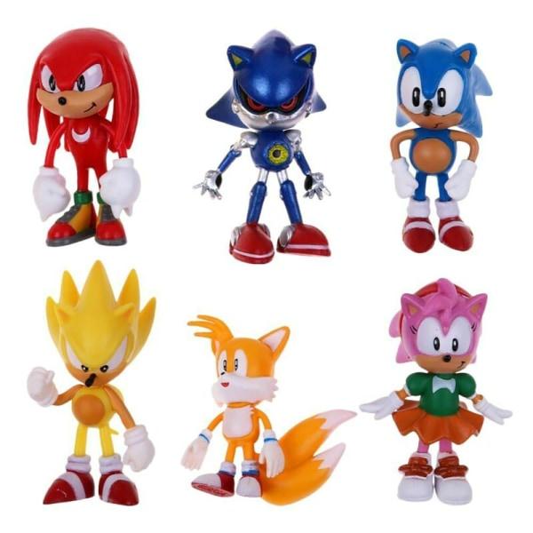 6 Pcs Sonic Classic The Hedgehog PVC Action Figure Model Kids