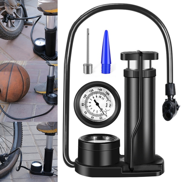 Bicycle Pedal Tire Pumps Basketball Inflator Black