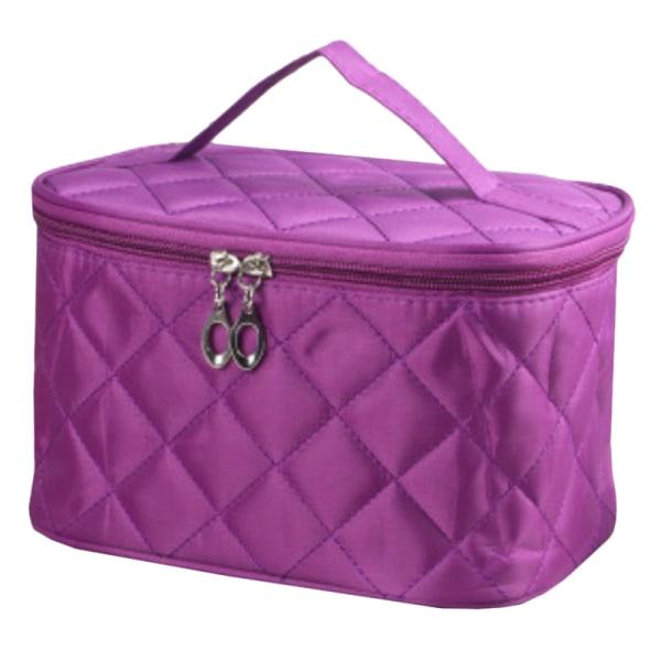 Diamond Pattern Travel Makeup Cosmetic Bag Pink