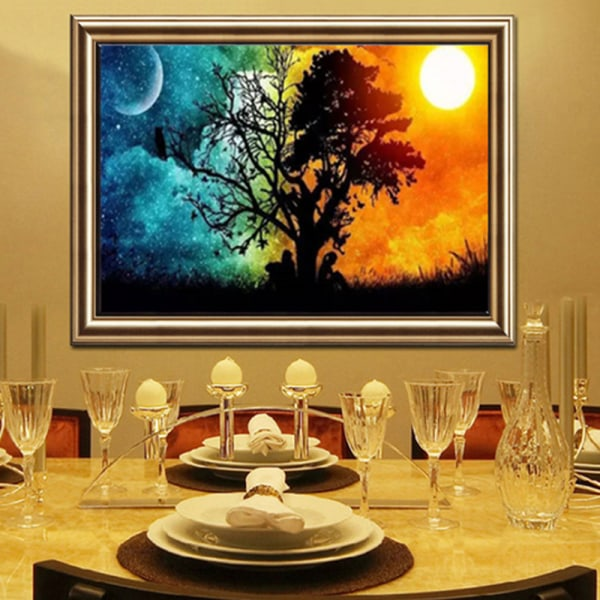 DIY Diamond Painting Sun Moon View