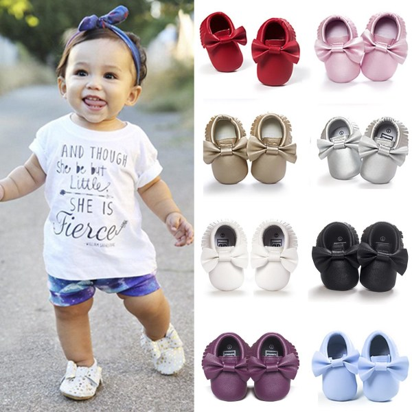 Mode Baby tofsar Mockasinskor Nyfött läder