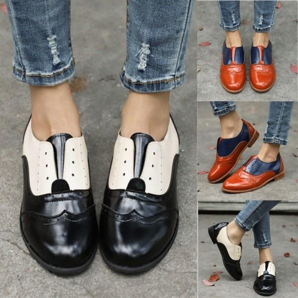 Fashion Women Round Toe Leather Oxfords Ankle black 36