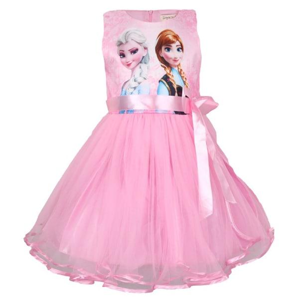 Frozen Princess Tutu Klänning Mesh Dress Anna Elsa Tryckt 140 cm