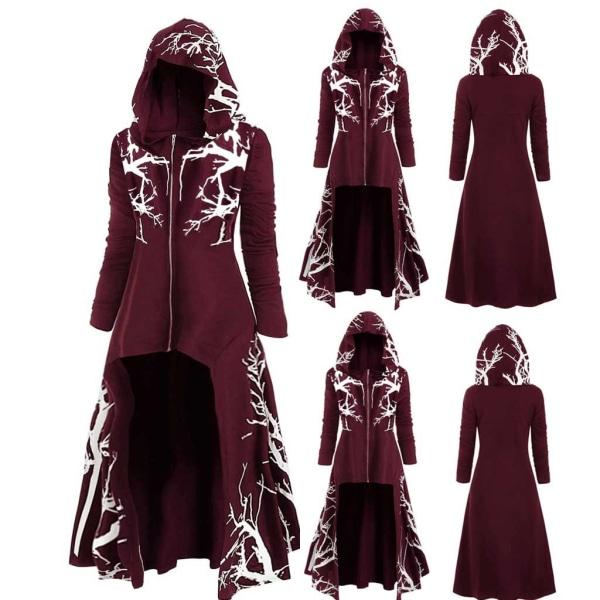 Halloween Women Irregular Cloak Hooded Floral Coat Jacktes Wine Red 3XL
