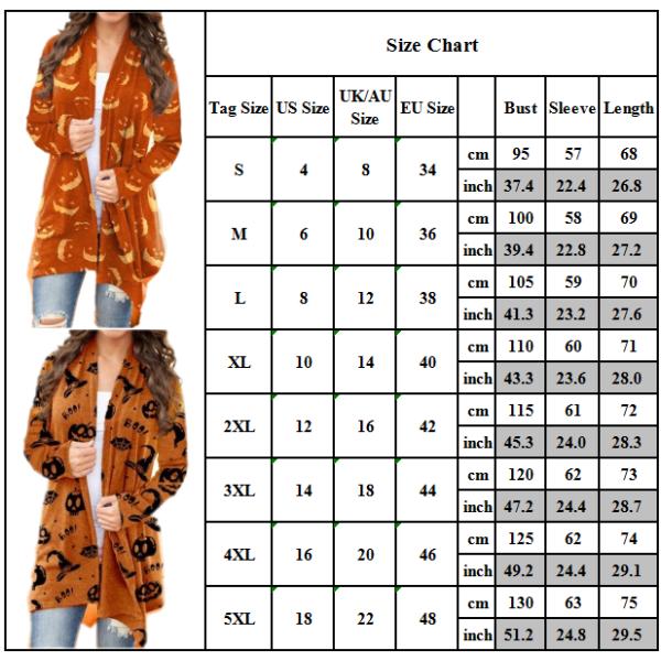 Halloween Womens Pumpkin Print Long Sleeve Cardigans Casual Orange 3XL