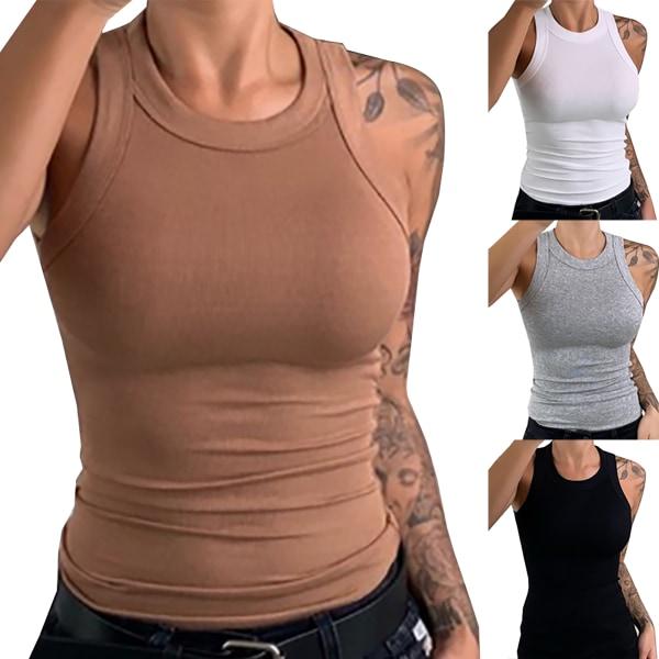 Halterneck Kvinnor ärmlösa linne Black L
