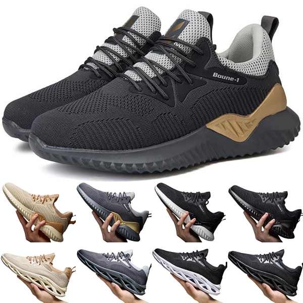 High Quality Male Comfortable Breathable Sports Shoes Casual grey&gold 40