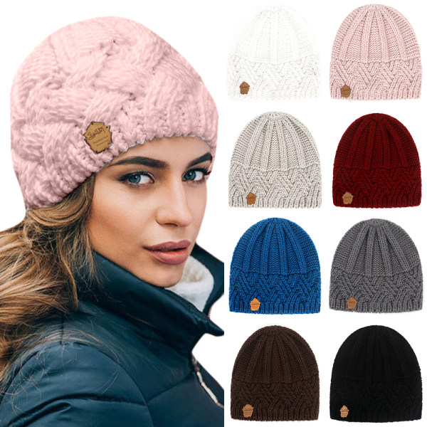 Knit Beanie Hats for Women Men Lined Chunky Winter Hat Pink