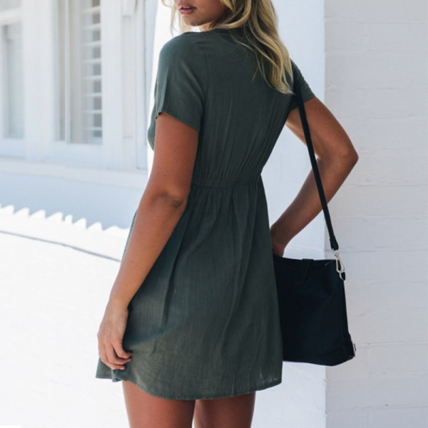 Kvinno V-neck Button Shirt Summer Short Dress Green XL