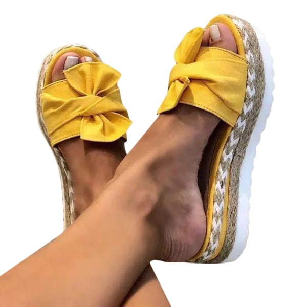 Kvinnor Beauty Bowknot Thick Sole Sandals Yellow 39