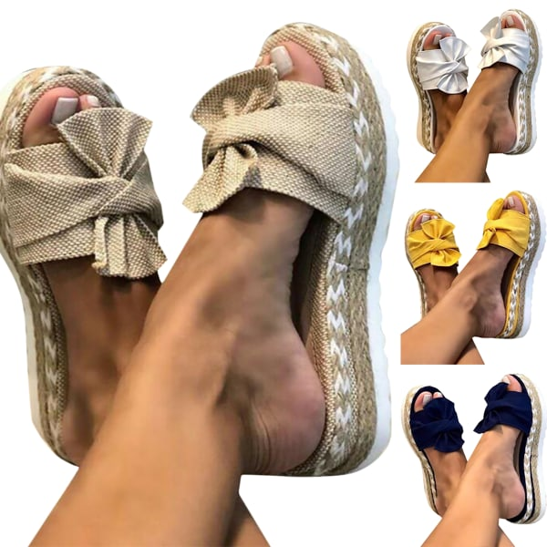 Kvinnor Beauty Bowknot Thick Sole Sandals White 36