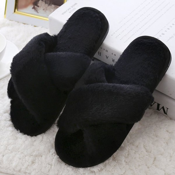 Kvinnor Home Slipper Cross Plush Shoes Black 39