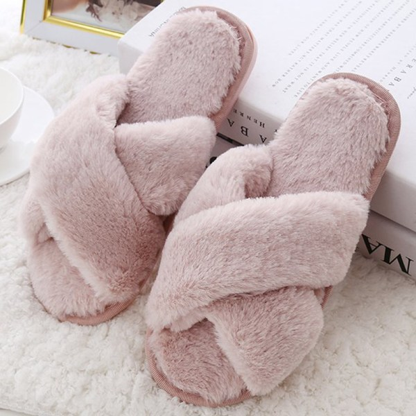 Kvinnor Home Slipper Cross Plush Shoes Pink 41