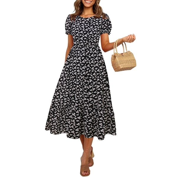 Kvinor Polka Dot Lantern Dress Short Sleeve Black L
