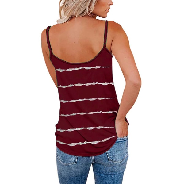 Ladies Summer V-Neck Striped Loose Tank Tops Blouse Holiday