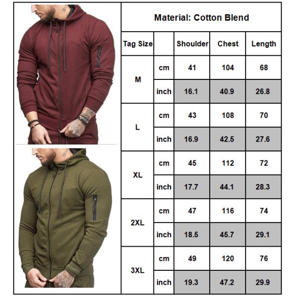 Man Hoody Fleece Zip Up Hoodies Jacka Coat Sweatshirt Vinter Dark Cyan XL