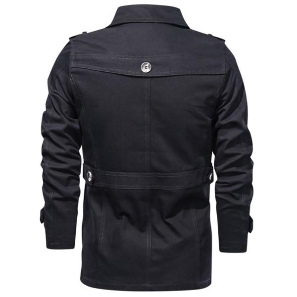 Mellanlång kavajjacka för män Vinterrockjacka Black XL