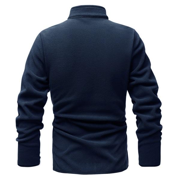 Enfärgad stickad cardigan tröja med dragkedja för män Navy blue 3XL