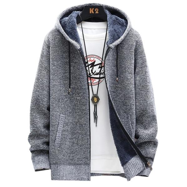 Herrfärgad tröjajacka med dragkedja med dragkedja Light grey M