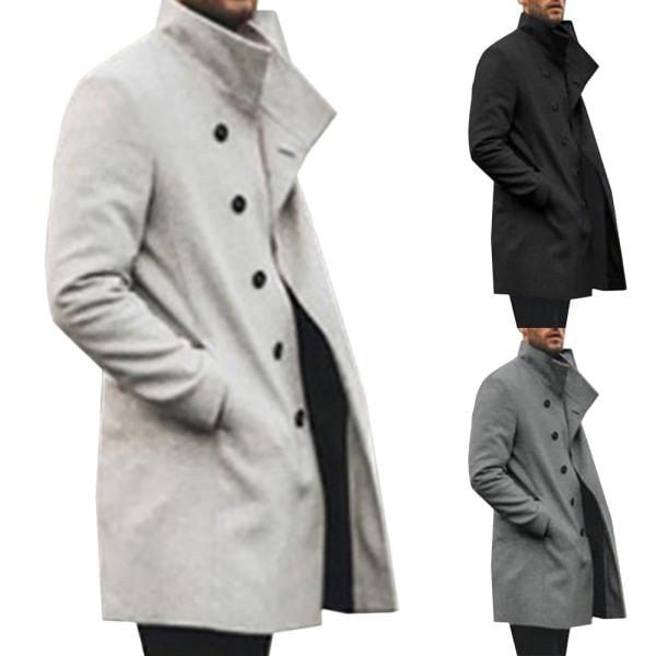 Men's lapel mid-length trench coat casual jacket trench coat Khaki XL