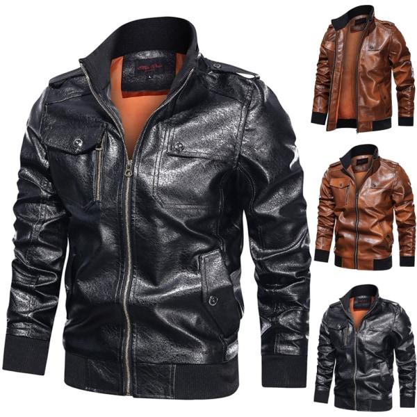 Mäns stå-krage motorcykeljacka vinter långärmad kappa Black L