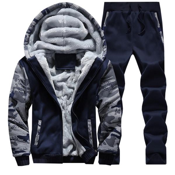 Mens Fleece Tracksuit Set Sports Hoody Hoodie Top Pants Trousers Black L