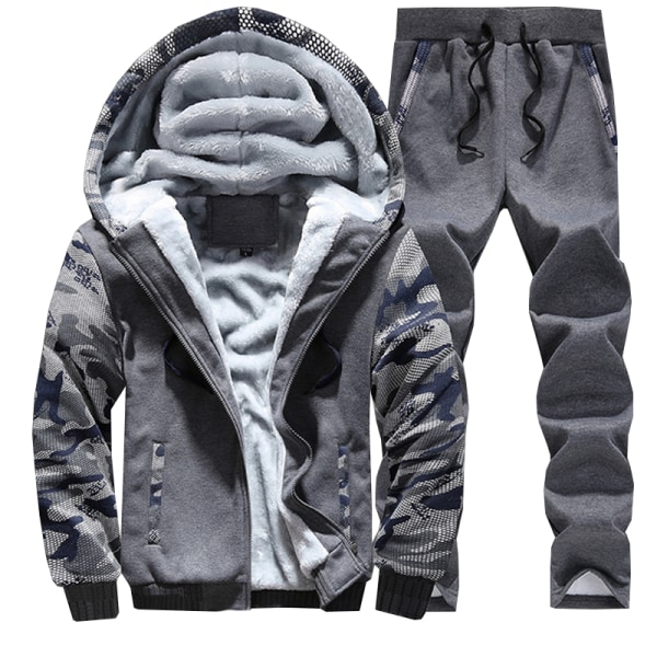 Mens Tracksuit Set Sports Hoody Hoodie Top Pants Trousers Dark Grey 2XL
